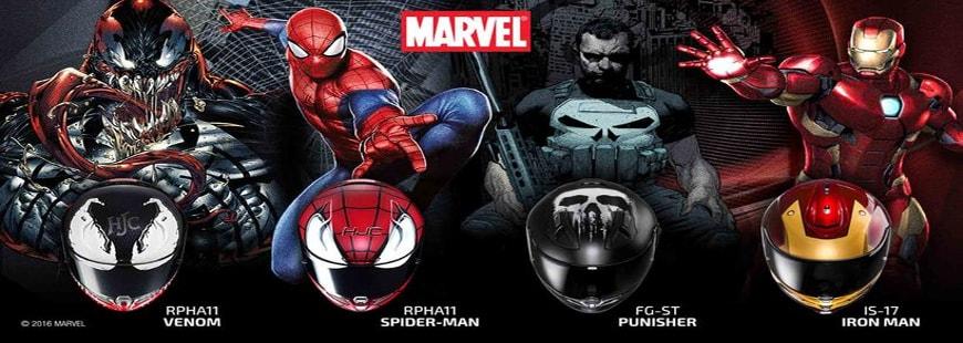 L'équipementier HJC propose des casques à l'effigie de super-héros Marvel